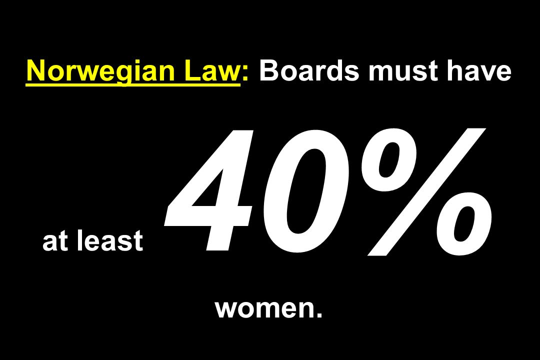 Norwegian Law: Boards must have at least 40% women.