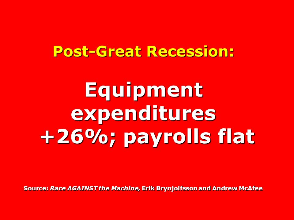 Post-Great Recession: Equipment expenditures +26%; payrolls flat +26%; payrolls flat Source: Race AGAINST the Machine, Erik Brynjolfsson and Andrew McAfee