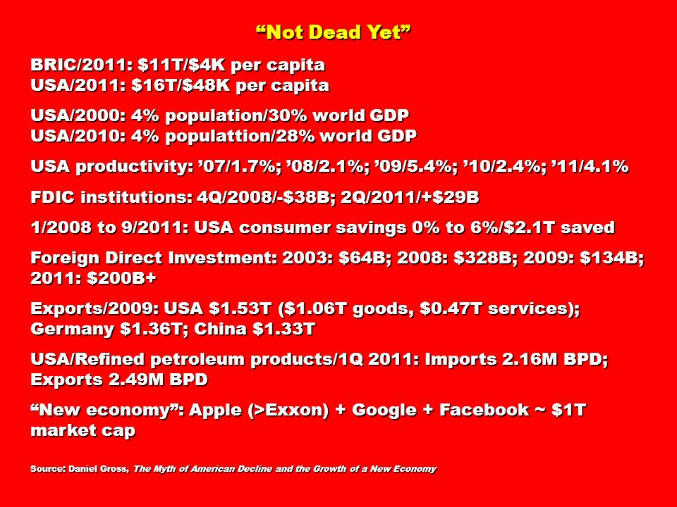Not Dead Yet Not Dead Yet BRIC/2011: $11T/$4K per capita USA/2011: $16T/$48K per capita USA/2000: 4% population/30% world GDP USA/2010: 4% populattion/28% world GDP USA productivity: 07/1.7%; 08/2.1%; 09/5.4%; 10/2.4%; 11/4.1% FDIC institutions: 4Q/2008/-$38B; 2Q/2011/+$29B 1/2008 to 9/2011: USA consumer savings 0% to 6%/$2.1T saved Foreign Direct Investment: 2003: $64B; 2008: $328B; 2009: $134B; 2011: $200B+ Exports/2009: USA $1.53T ($1.06T goods, $0.47T services); Germany $1.36T; China $1.33T USA/Refined petroleum products/1Q 2011: Imports 2.16M BPD; Exports 2.49M BPD New economy: Apple (>Exxon) + Google + Facebook ~ $1T market cap Source: Daniel Gross, The Myth of American Decline and the Growth of a New Economy
