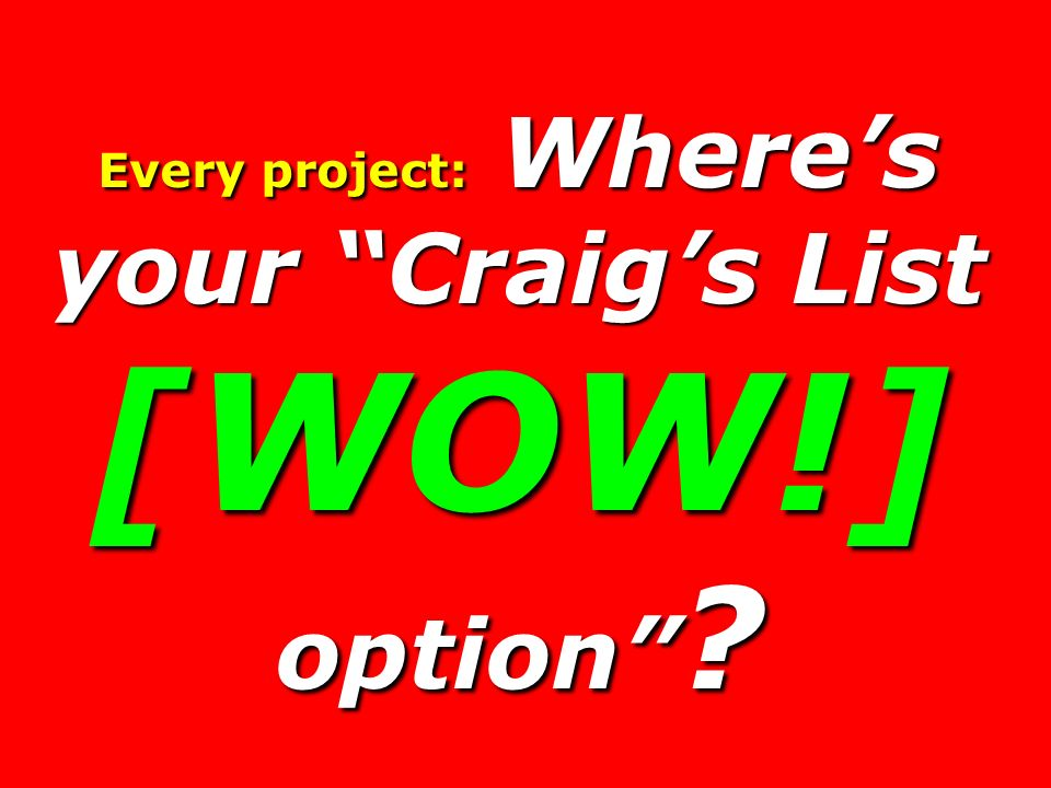 Every project: Wheres your Craigs List [WOW!] option