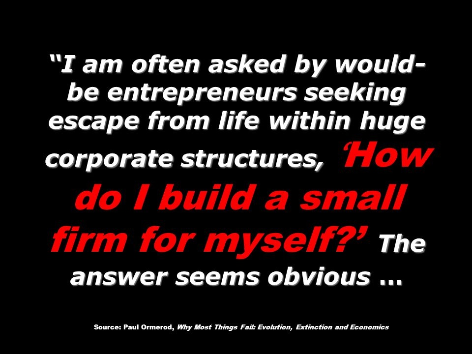 I am often asked by would- be entrepreneurs seeking escape from life within huge corporate structures, The answer seems obvious … I am often asked by would- be entrepreneurs seeking escape from life within huge corporate structures, How do I build a small firm for myself.