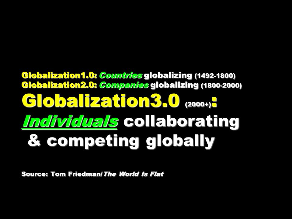Globalization1.0: Countries globalizing ( ) Globalization2.0: Companies globalizing ( ) Globalization3.0 (2000+) : Individuals collaborating & competing globally Source: Tom Friedman/The World Is Flat