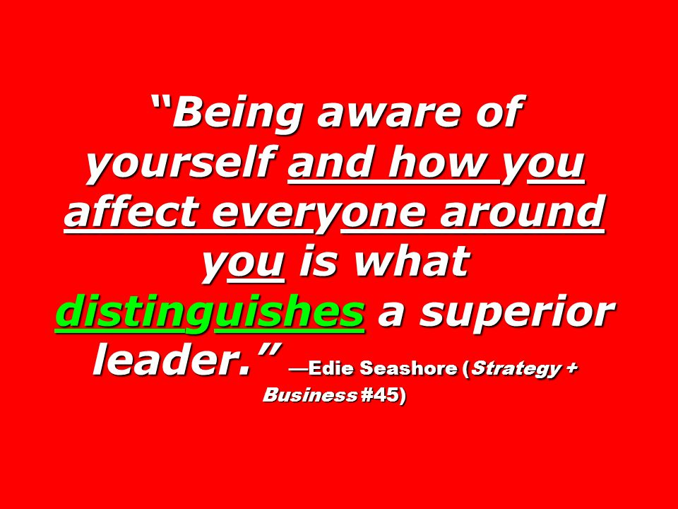 Being aware of yourself and how you affect everyone around you is what distinguishes a superior leader.