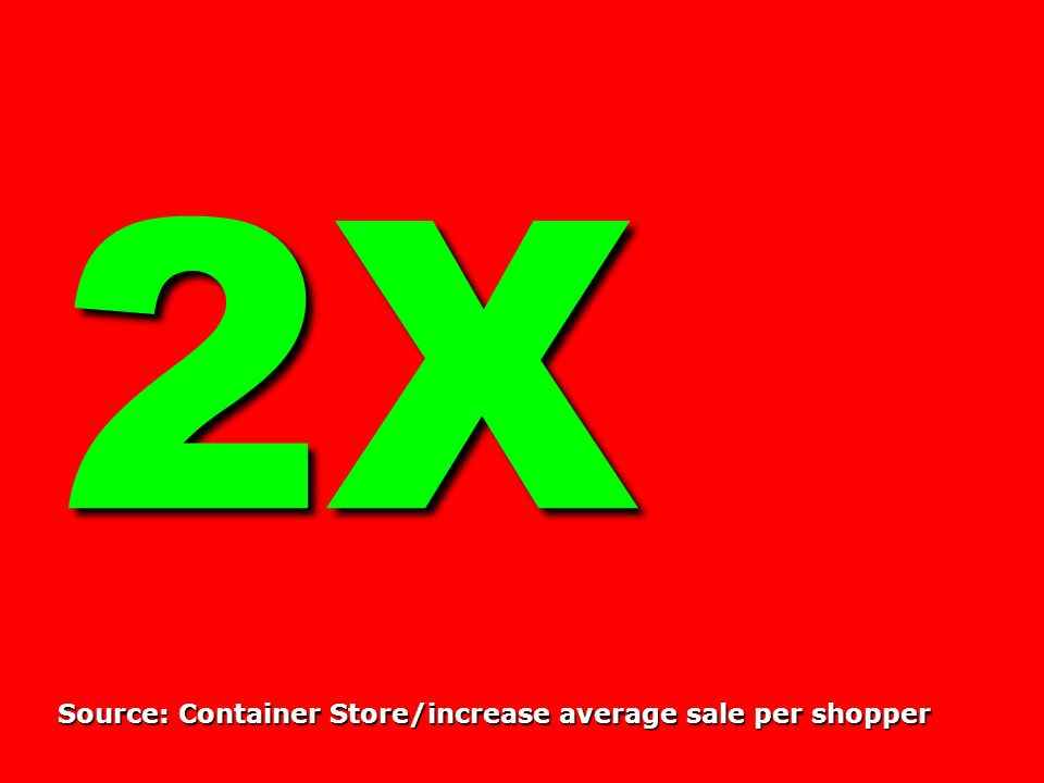 2X Source: Container Store/increase average sale per shopper