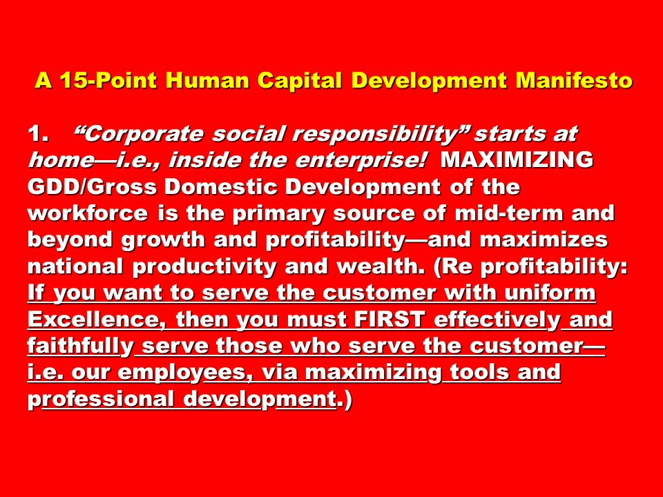A 15-Point Human Capital Development Manifesto A 15-Point Human Capital Development Manifesto 1.