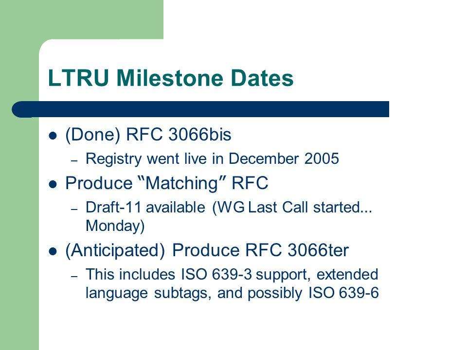 LTRU Milestone Dates (Done) RFC 3066bis – Registry went live in December 2005 Produce Matching RFC – Draft-11 available (WG Last Call started … Monday) (Anticipated) Produce RFC 3066ter – This includes ISO support, extended language subtags, and possibly ISO 639-6