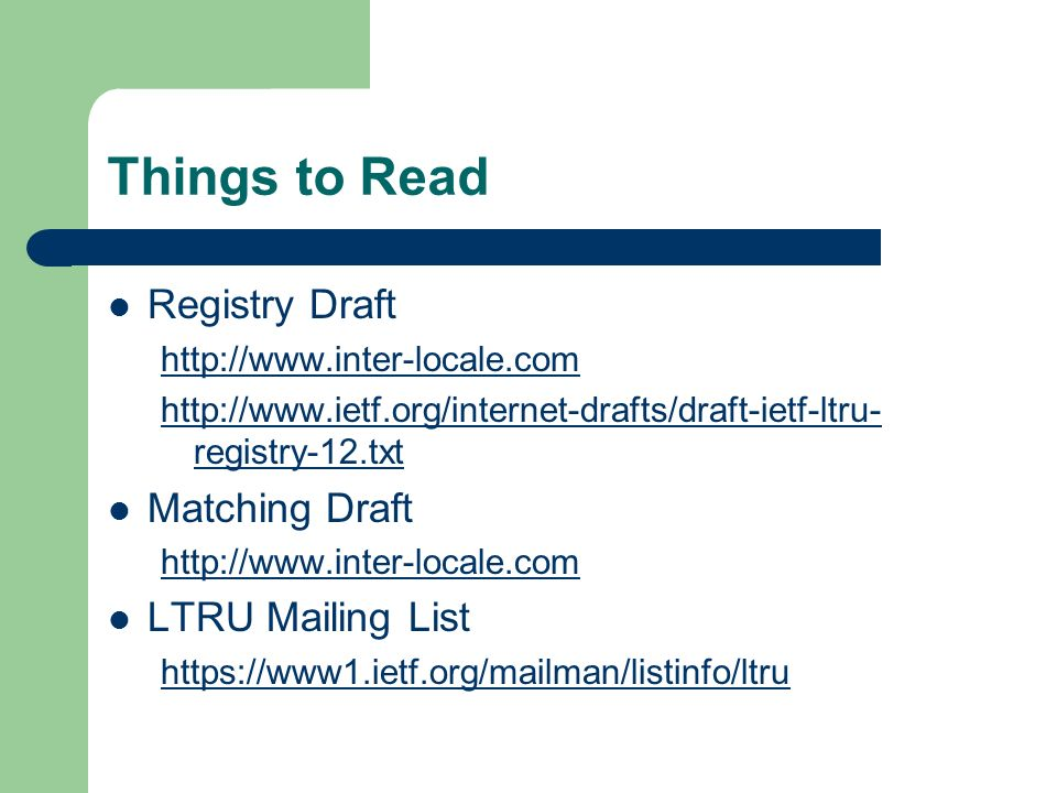 Things to Read Registry Draft     registry-12.txt Matching Draft   LTRU Mailing List