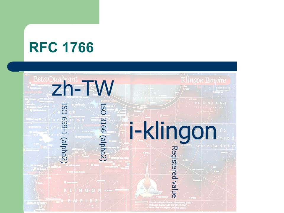 RFC 1766 zh-TW ISO (alpha2) ISO 3166 (alpha2) i-klingon Registered value