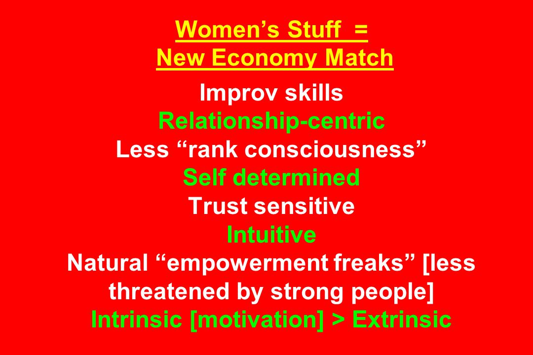 Womens Stuff = New Economy Match Improv skills Relationship-centric Less rank consciousness Self determined Trust sensitive Intuitive Natural empowerment freaks [less threatened by strong people] Intrinsic [motivation] > Extrinsic