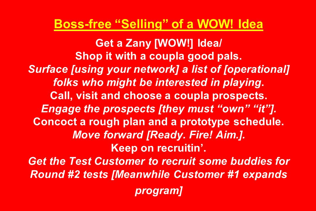 Boss-free Selling of a WOW. Idea Get a Zany [WOW!] Idea/ Shop it with a coupla good pals.