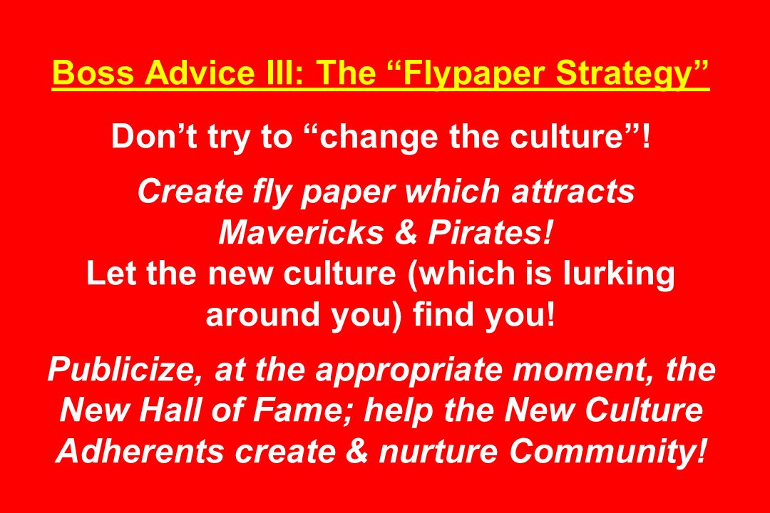 Boss Advice III: The Flypaper Strategy Dont try to change the culture.