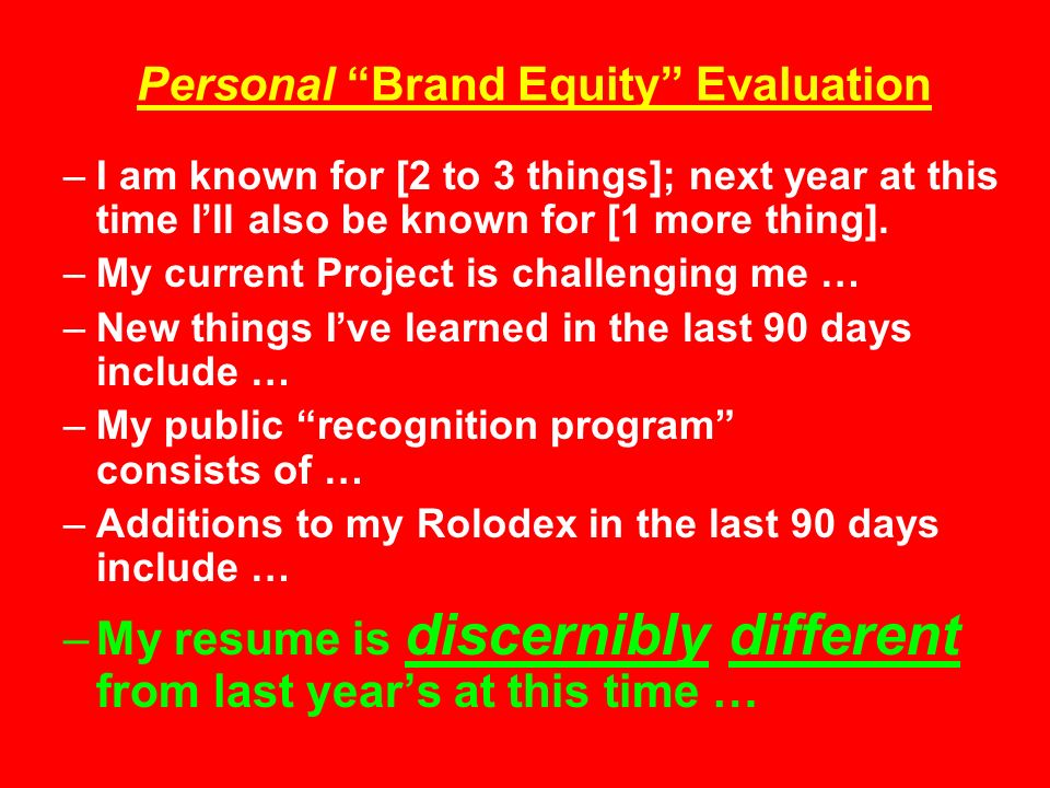 Personal Brand Equity Evaluation –I am known for [2 to 3 things]; next year at this time Ill also be known for [1 more thing].