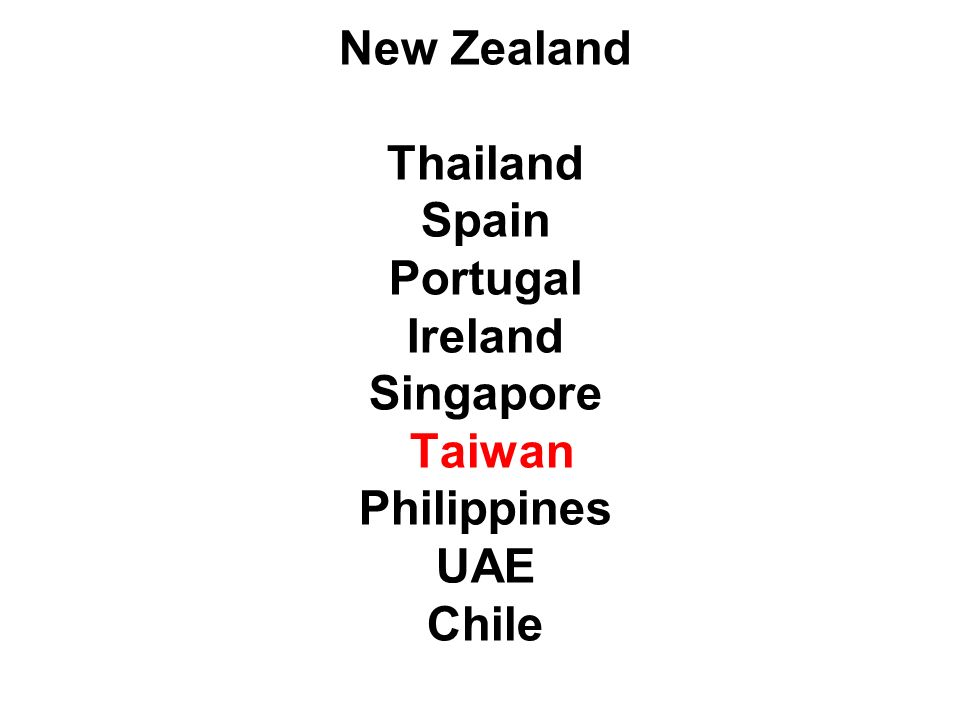 New Zealand Thailand Spain Portugal Ireland Singapore Taiwan Philippines UAE Chile
