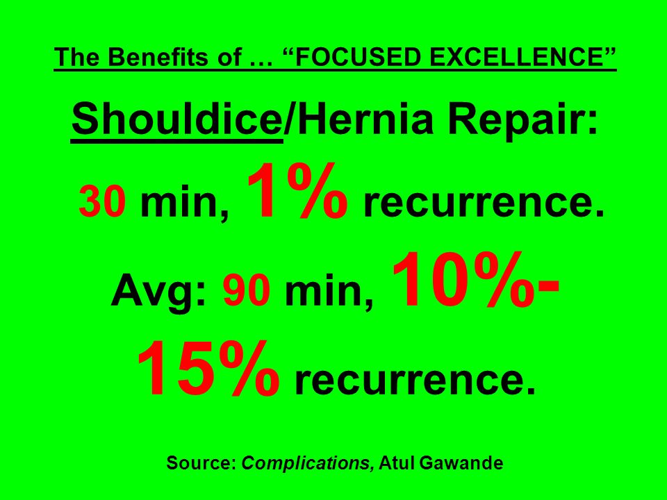 The Benefits of … FOCUSED EXCELLENCE Shouldice/Hernia Repair: 30 min, 1% recurrence.