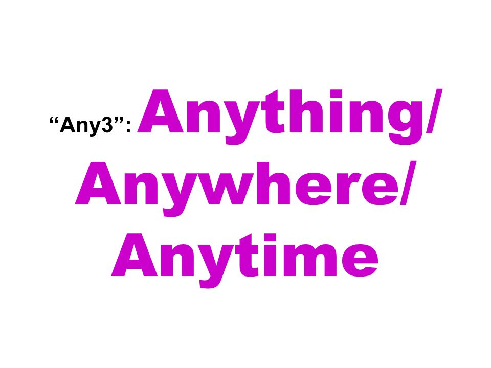 Any3: Anything/ Anywhere/ Anytime