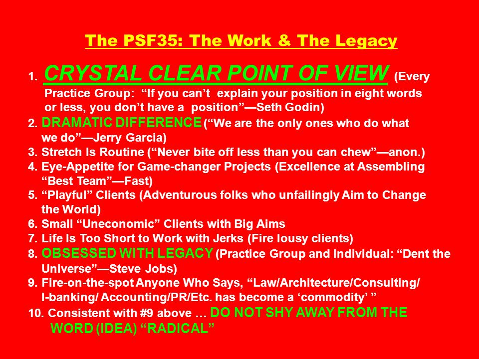 The PSF35: The Work & The Legacy 1.