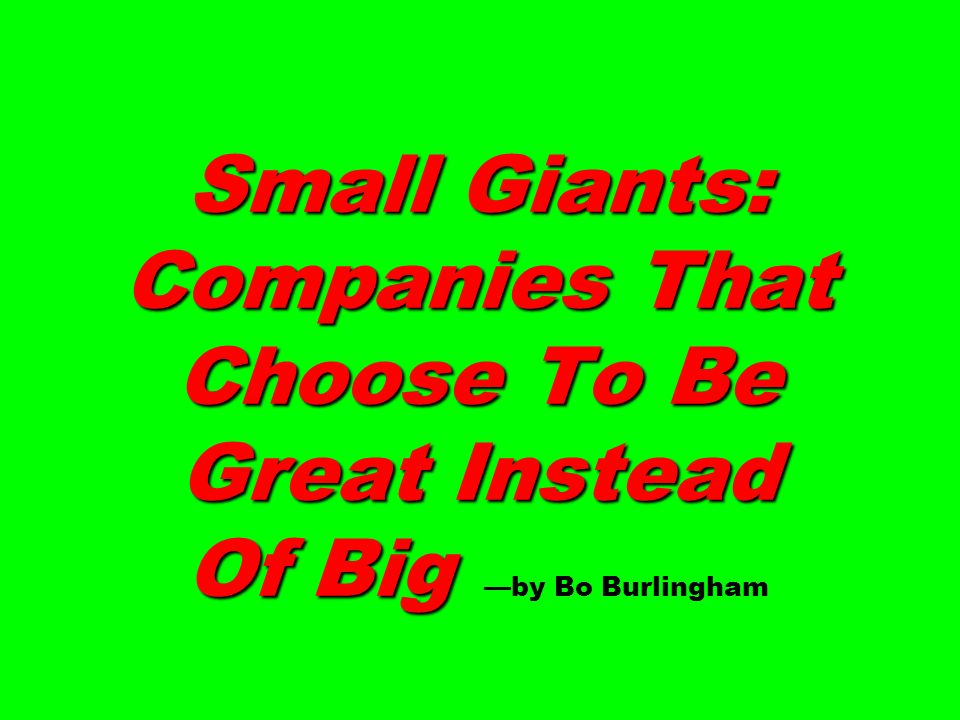 Small Giants: Companies That Choose To Be Great Instead Of Big Small Giants: Companies That Choose To Be Great Instead Of Big by Bo Burlingham