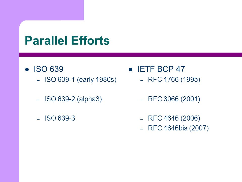 Parallel Efforts ISO 639 – ISO 639-1 (early 1980s) – ISO 639-2 (alpha3) – ISO 639-3 IETF BCP 47 – RFC 1766 (1995) – RFC 3066 (2001) – RFC 4646 (2006) – RFC 4646bis (2007)