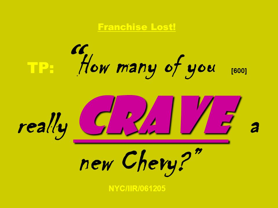 crave Franchise Lost! TP: How many of you [600] really crave a new Chevy NYC/IIR/061205