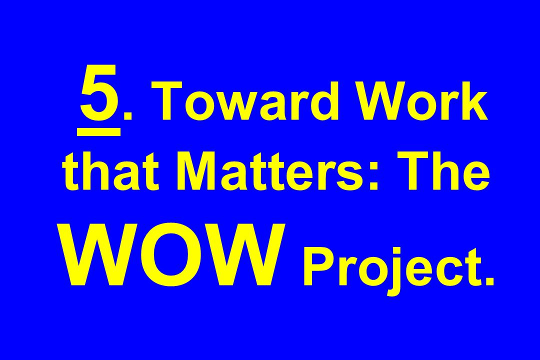 5. Toward Work that Matters: The WOW Project.