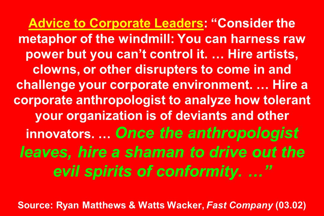 Advice to Corporate Leaders: Consider the metaphor of the windmill: You can harness raw power but you cant control it.