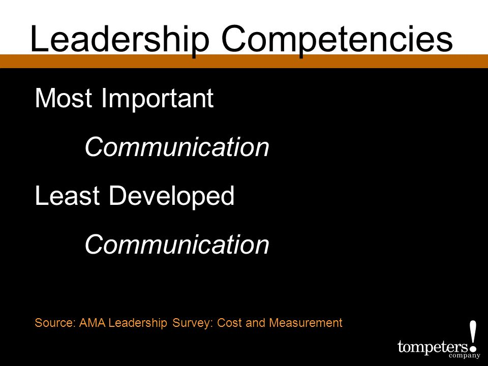 Leadership Competencies Most Important Communication Least Developed Communication Source: AMA Leadership Survey: Cost and Measurement