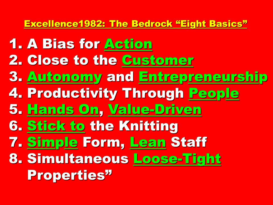 Excellence1982: The Bedrock Eight Basics Excellence1982: The Bedrock Eight Basics 1.