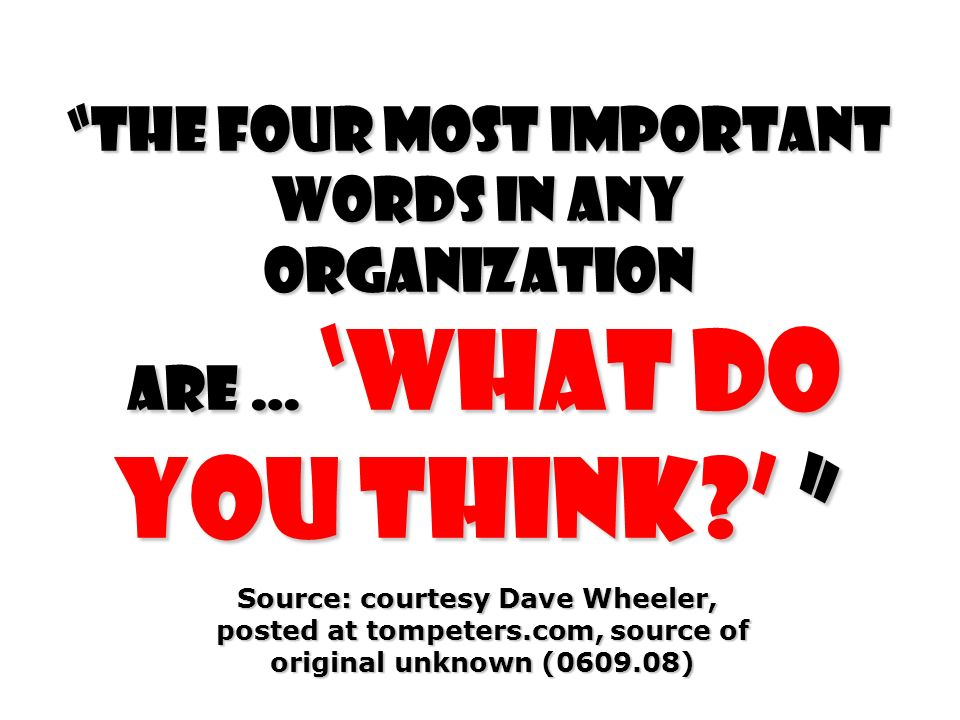 The four most important words in any organization are … What do you think.
