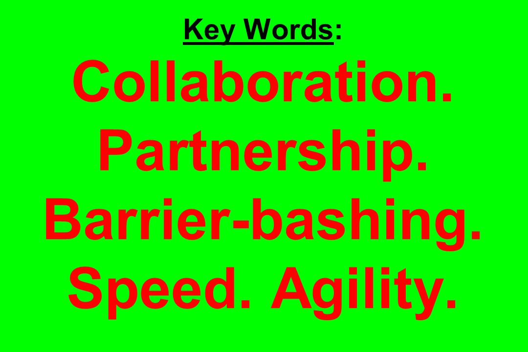 Key Words: Collaboration. Partnership. Barrier-bashing. Speed. Agility.