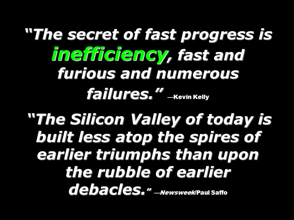 The secret of fast progress is inefficiency, fast and furious and numerous failures.