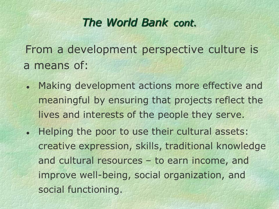 The World Bank cont.