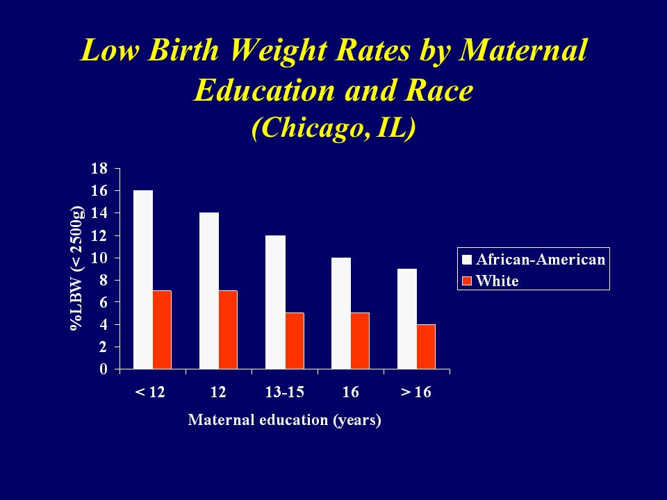 Low Birth Weight Rates by Maternal Education and Race (Chicago, IL)