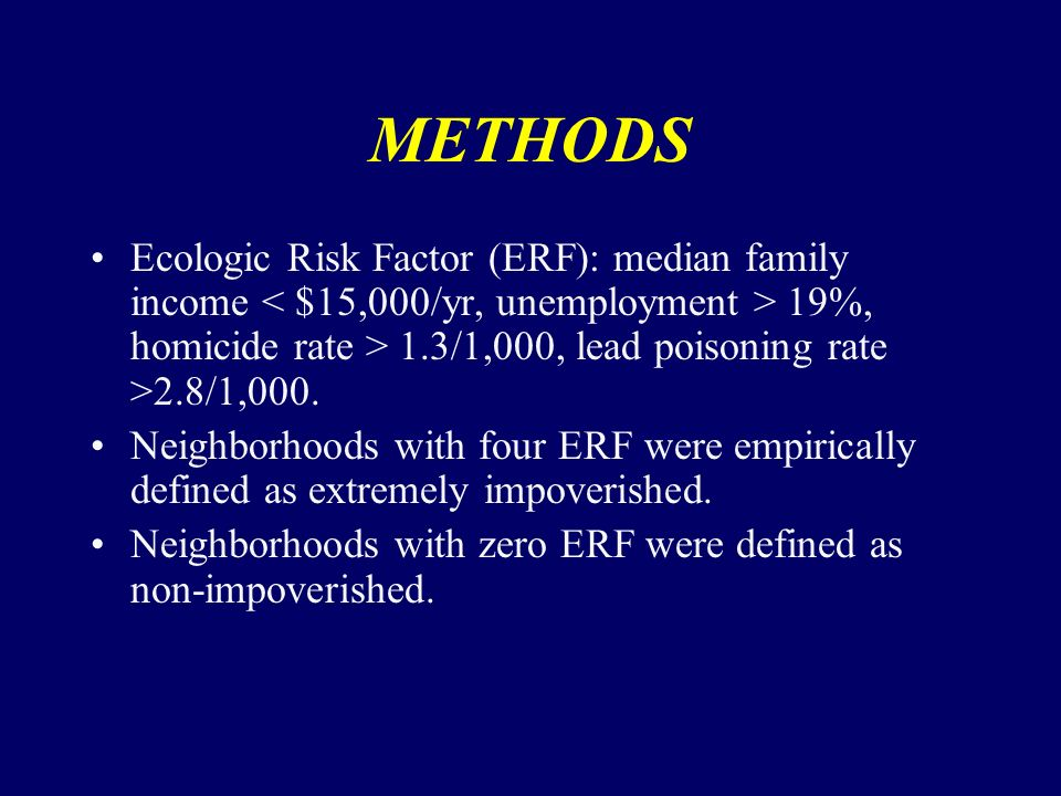 METHODS Ecologic Risk Factor (ERF): median family income 19%, homicide rate > 1.3/1,000, lead poisoning rate >2.8/1,000.