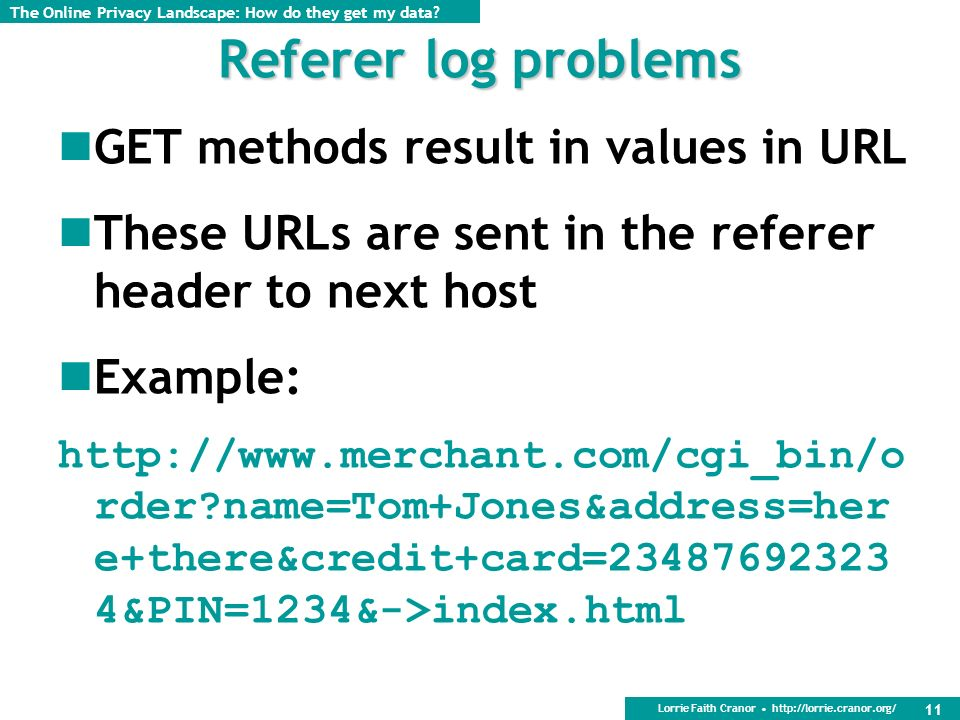 Lorrie Faith Cranor http://lorrie.cranor.org/ 11 Referer log problems GET methods result in values in URL These URLs are sent in the referer header to next host Example: http://www.merchant.com/cgi_bin/o rder name=Tom+Jones&address=her e+there&credit+card=23487692323 4&PIN=1234&->index.html The Online Privacy Landscape: How do they get my data