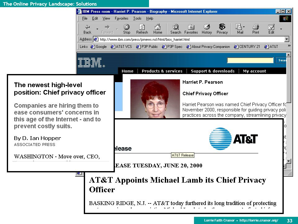 Lorrie Faith Cranor http://lorrie.cranor.org/ 33 The Online Privacy Landscape: Solutions
