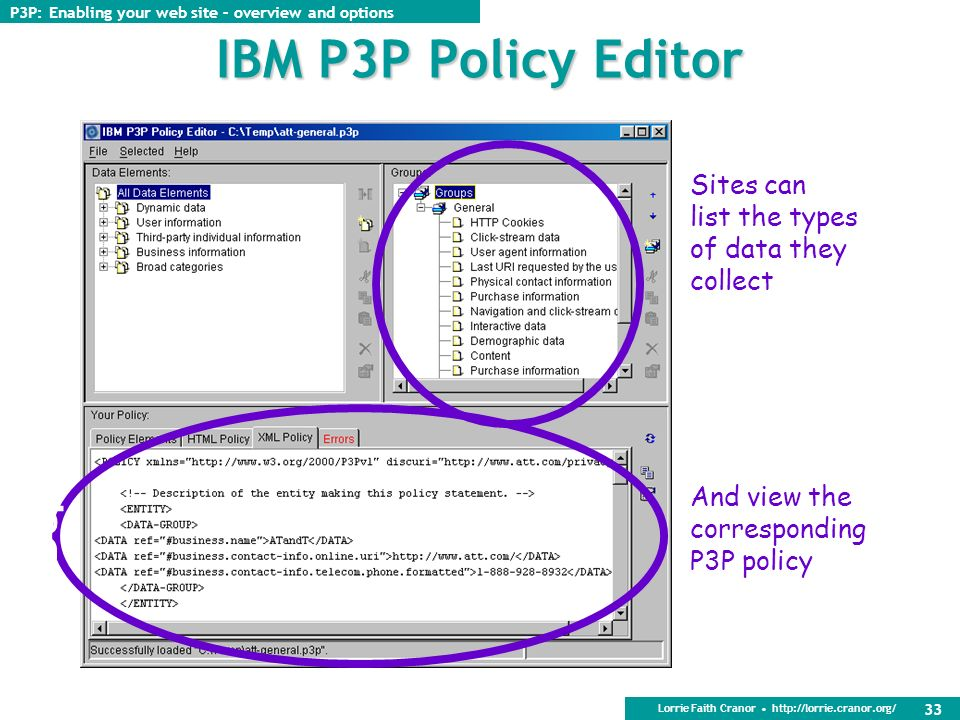 Lorrie Faith Cranor http://lorrie.cranor.org/ 32 Generating a P3P policy Edit by hand Cut and paste from an example Use a P3P policy generator Recommended: IBM P3P policy editor http://www.alphaworks.ibm.com/tech/p3peditor Generate compact policy and policy reference file the same way (by hand or with policy editor) Get a book Web Privacy with P3P by Lorrie Faith Cranor http://p3pbook.com/ P3P: Enabling your web site – overview and options