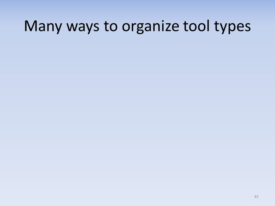 Many ways to organize tool types 45