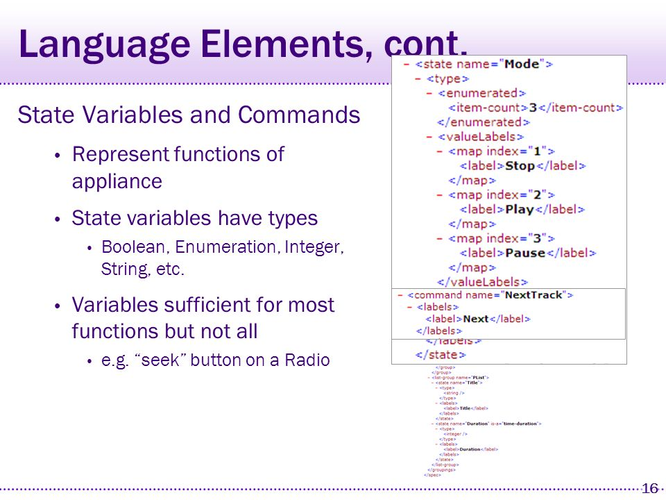 15 Language Elements Elements State variables & commands Labels Group tree Dependency information Example media player specification Play, stop, pause, next track, previous track Play list