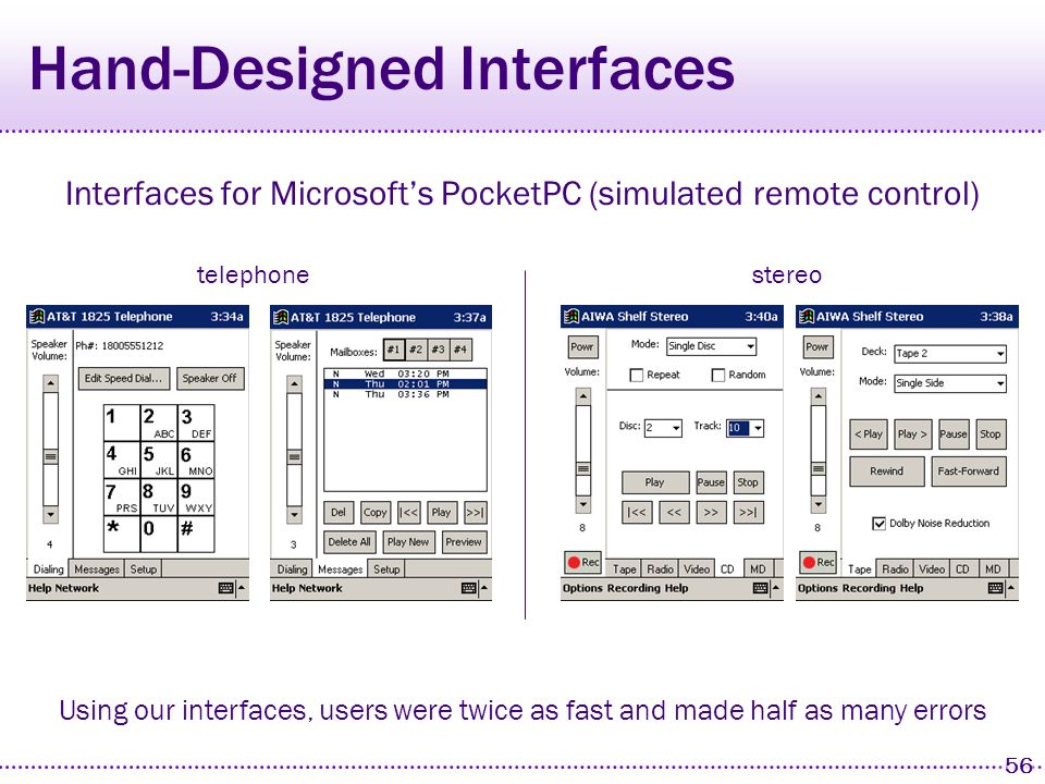 55 Palm Interfaces Initially designed paper-prototype interfaces for Palm telephonestereo