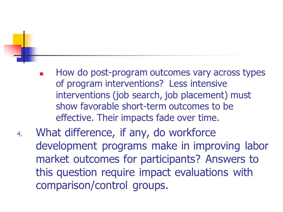 How do post-program outcomes vary across types of program interventions.