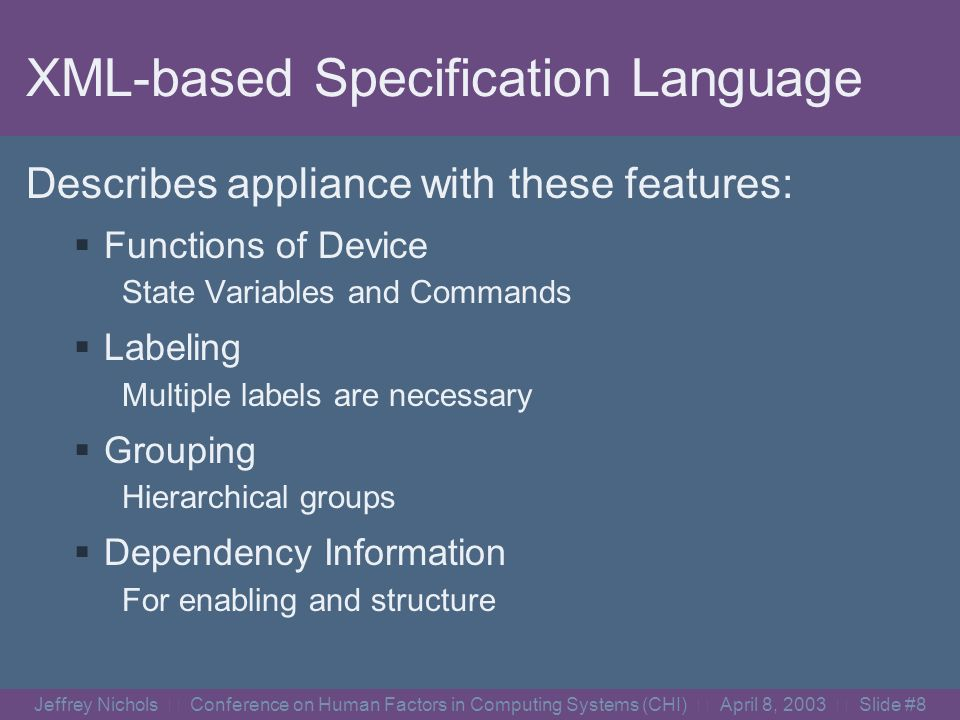 Jeffrey Nichols Conference on Human Factors in Computing Systems (CHI) April 8, 2003 Slide #7 - Appliance Adaptors- Comm.