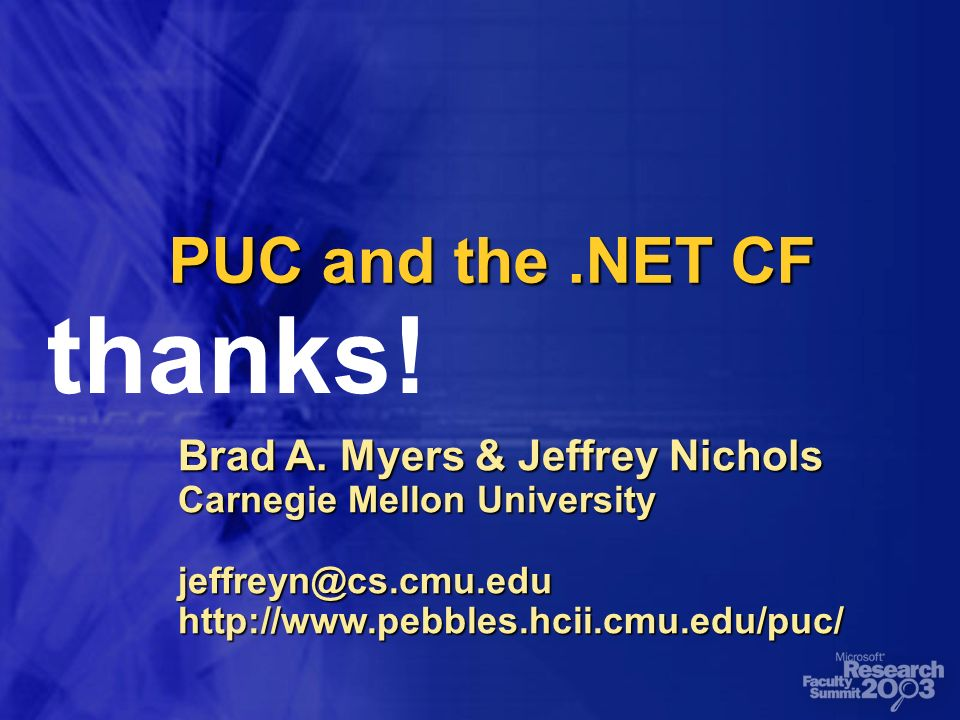 PUC and the.NET CF Brad A.