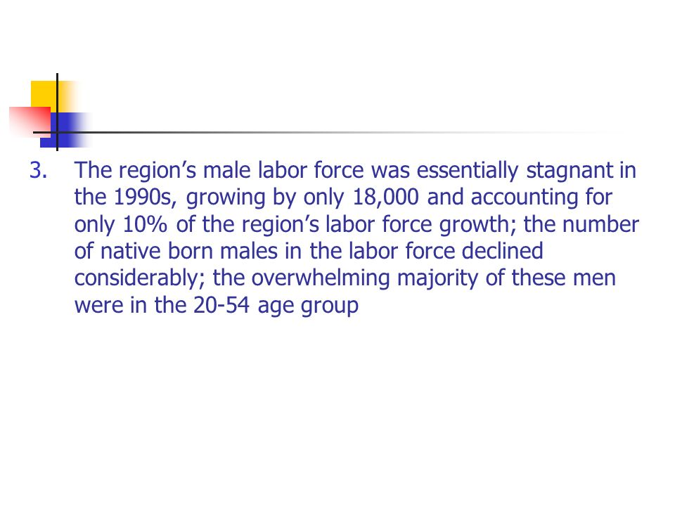 3.The regions male labor force was essentially stagnant in the 1990s, growing by only 18,000 and accounting for only 10% of the regions labor force growth; the number of native born males in the labor force declined considerably; the overwhelming majority of these men were in the age group