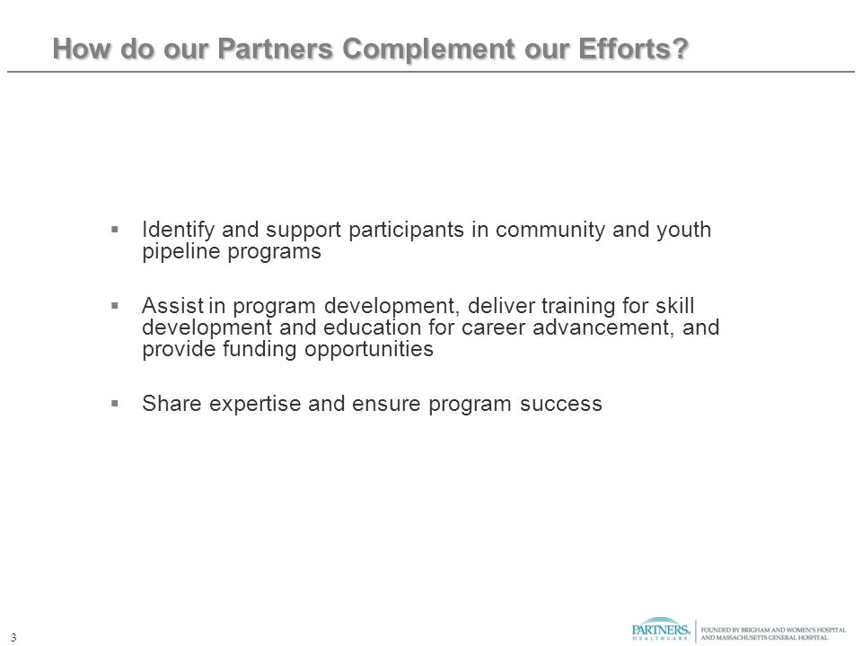 3 How do our Partners Complement our Efforts.