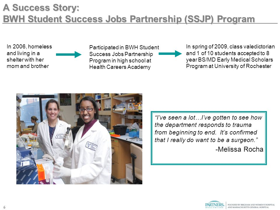 6 A Success Story: BWH Student Success Jobs Partnership (SSJP) Program Ive seen a lot…Ive gotten to see how the department responds to trauma from beginning to end.