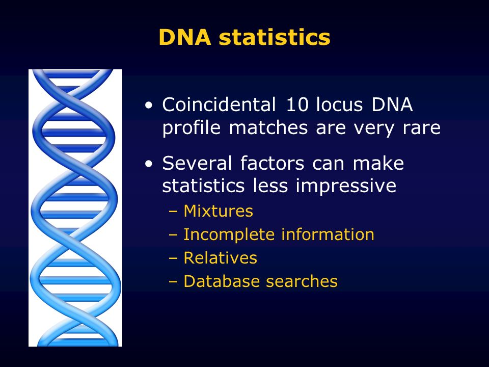 DNA statistics Coincidental 10 locus DNA profile matches are very rare Several factors can make statistics less impressive –Mixtures –Incomplete information –Relatives –Database searches