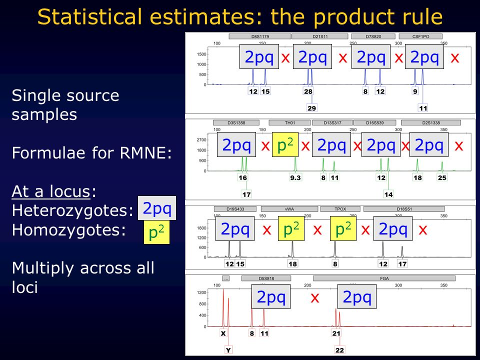 Single source samples Formulae for RMNE: At a locus: Heterozygotes: Homozygotes: Multiply across all loci p2p2 Statistical estimates: the product rule 2pq p2p2 p2p2 p2p2 xxxx xxxx xxxx x x