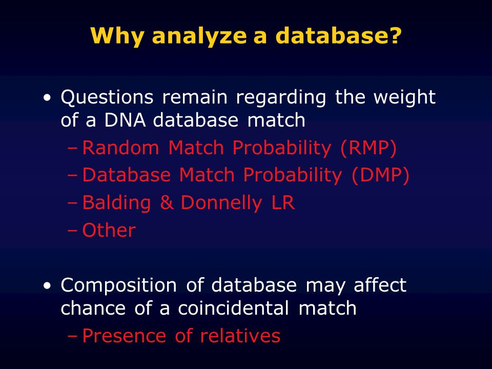 Why analyze a database.