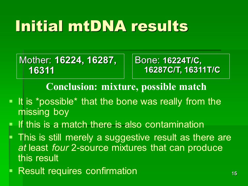 15 Initial mtDNA results It is *possible* that the bone was really from the missing boy If this is a match there is also contamination This is still merely a suggestive result as there are at least four 2-source mixtures that can produce this result Result requires confirmation Mother: 16224, 16287, Bone: 16224T/C, 16287C/T, 16311T/C Conclusion: mixture, possible match
