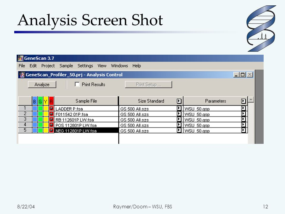 8/22/04Raymer/Doom – WSU, FBS12 Analysis Screen Shot